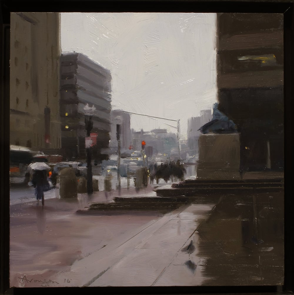 From the Steps of the BPL , 2016 oil on panel, 12 x 12 inches