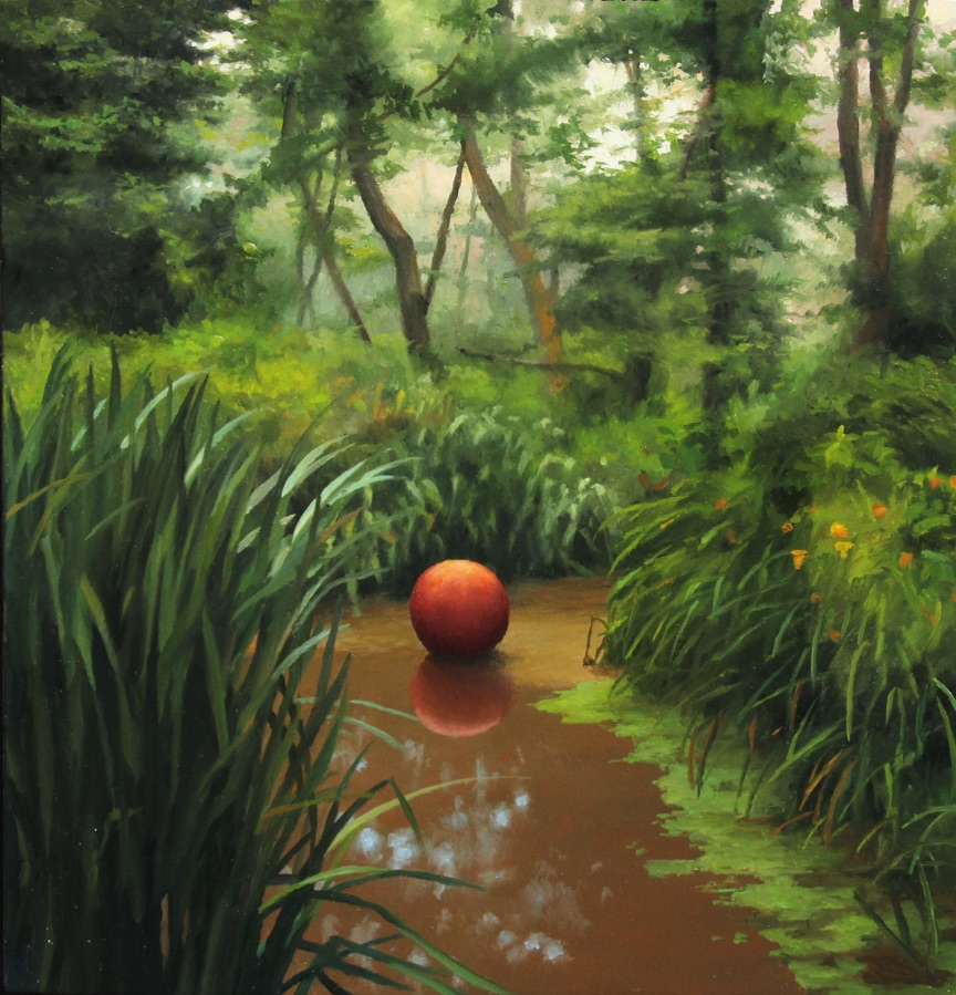 Red Ball , 2015 oil on panel, 6 x 6 inches