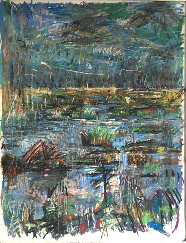 Marsh in Mist , ca. 1997 pastel on paper, 36 x 28 inches