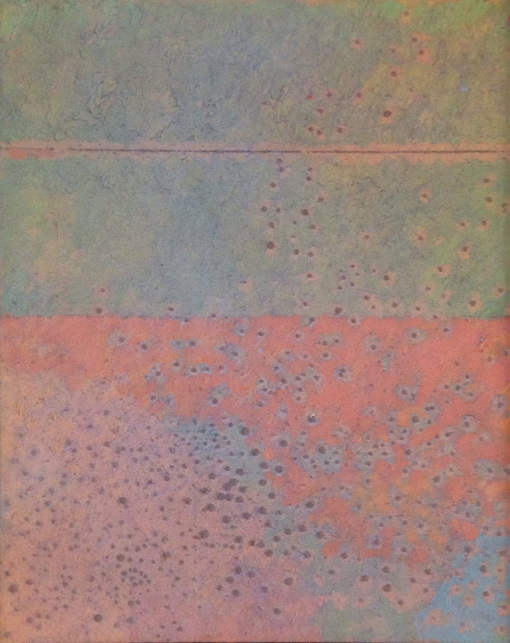 Tame Horizon , 1973 oil & sand on canvas, 19 x 15 inches