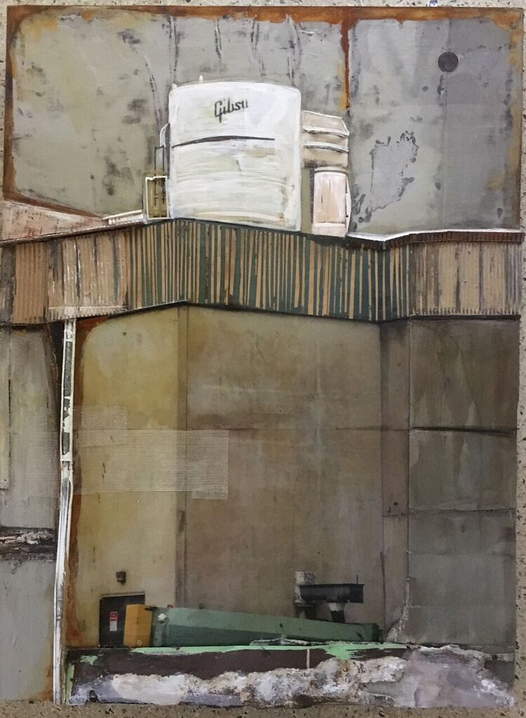 Memphis Factory,  2016 mixed media, 48 x 36 x 2 1/2