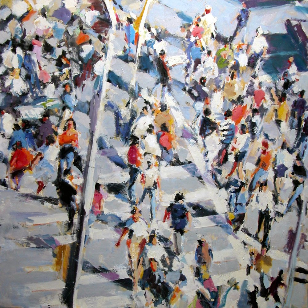 Square Crowd , 2009-10 oil on linen, 80 x 80 inches
