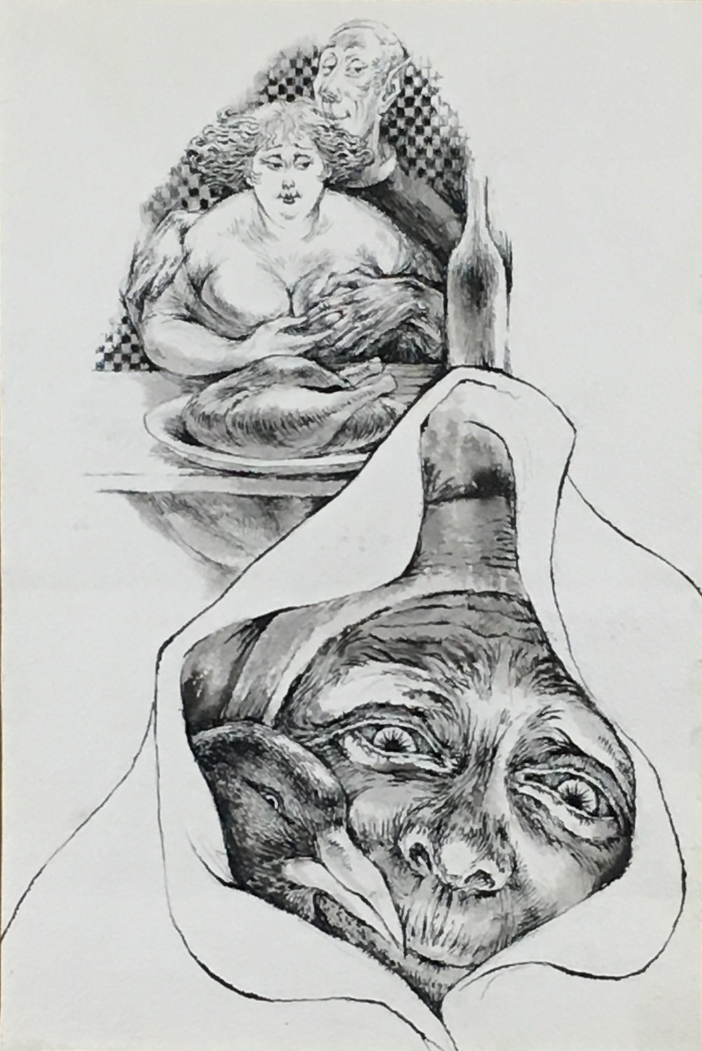 The Little Peasant,  1970-71 ink on paper, 16 3/4 x 11 inches