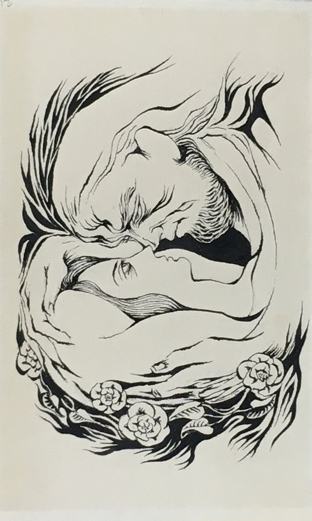 Briar Rose (Sleeping Beauty) , 1970-71 ink on paper, 16 3/4 x 10 1/4 inches