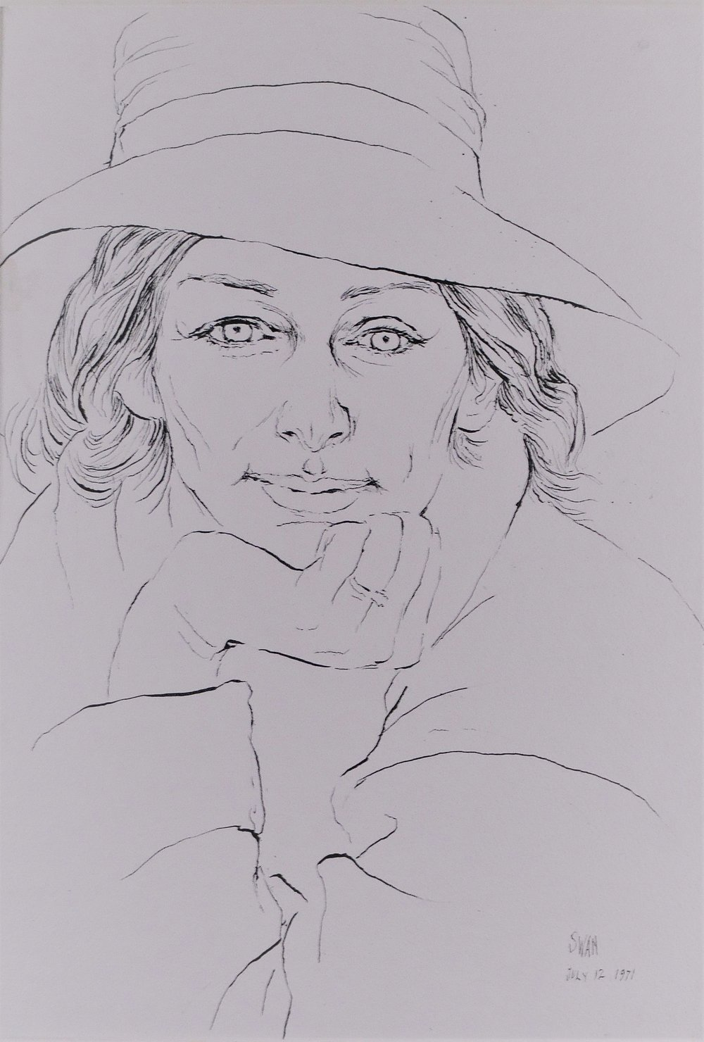 Portrait of Anne Sexton , 1971 ink on paper, 20 x 14 inches
