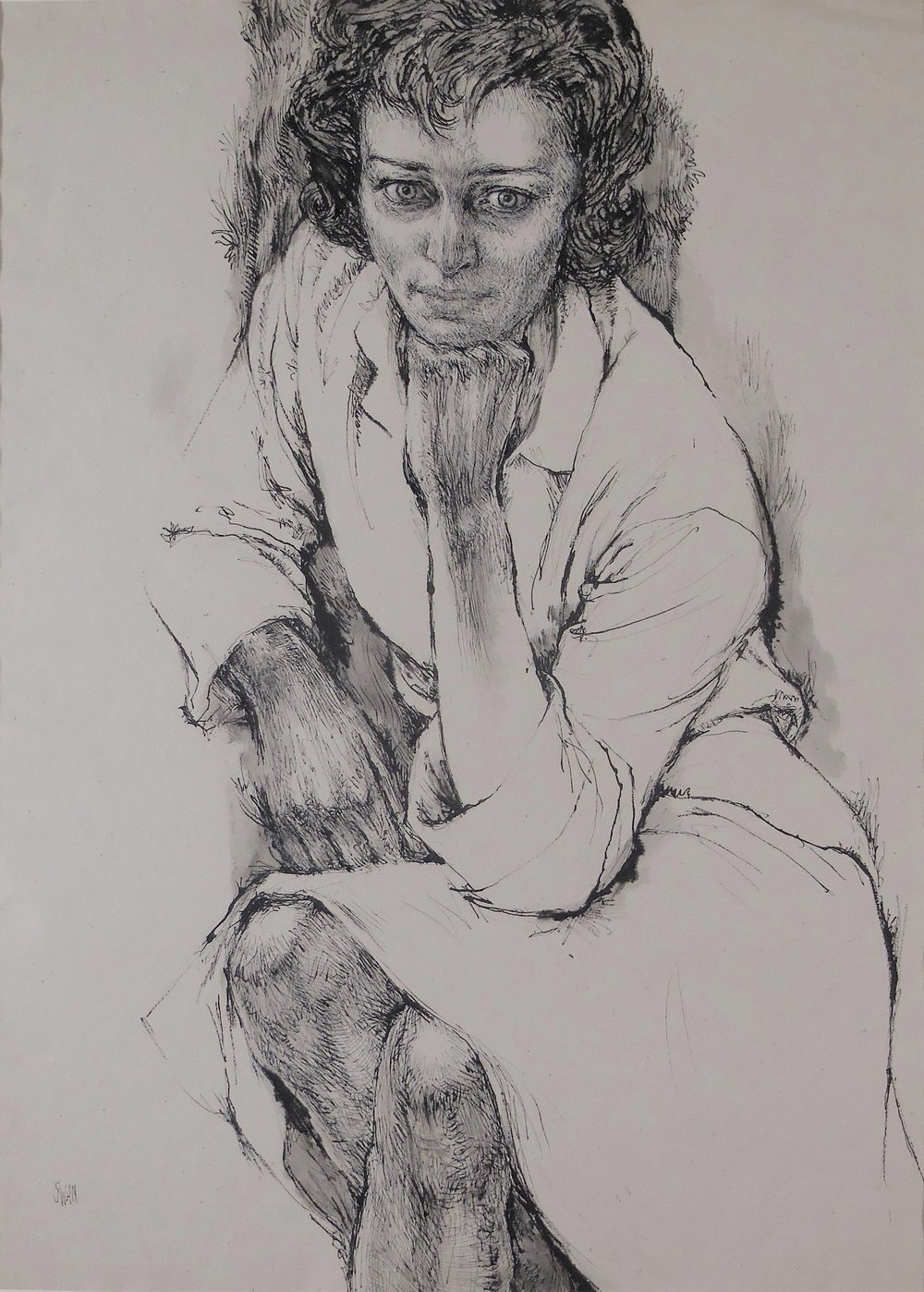 Portrait of Anne Sexton , ca. 1970 ink on paper, 31 x 23 inches