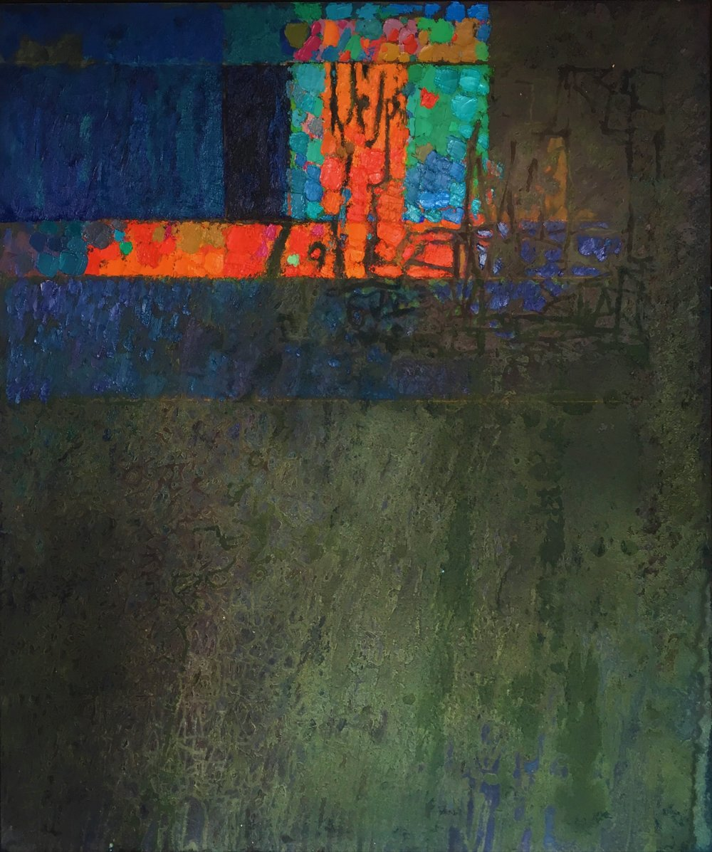 Brooding Bronze Landscape,  1962 oil and sand on canvas, 72 x 60 inches