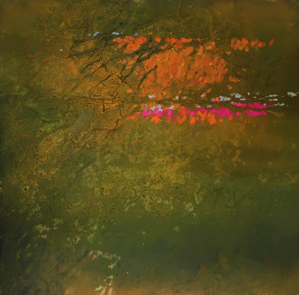 Nature Tendrils , 1959 oil and sand on canvas, 48 x 48 inches