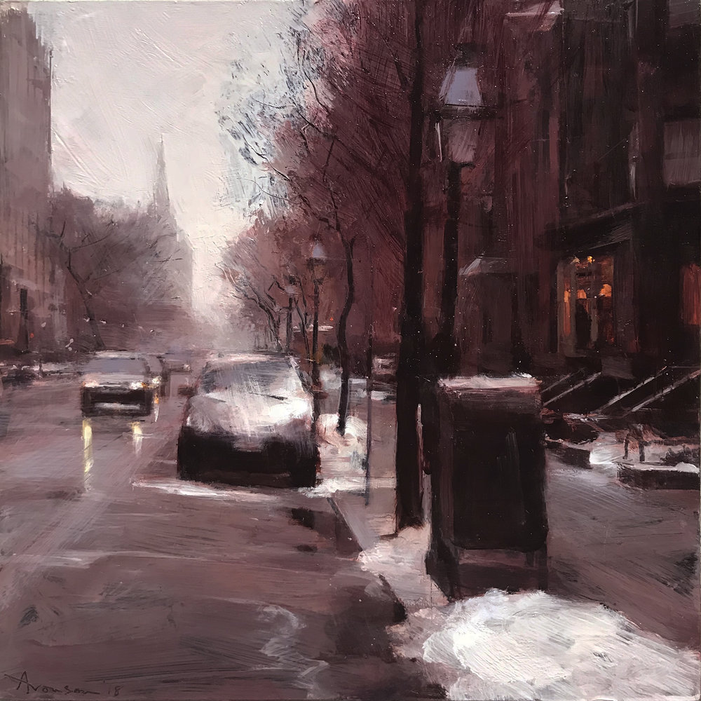 Newbury Street in the Snow , 2018 oil on panel, 12 x 12 inches