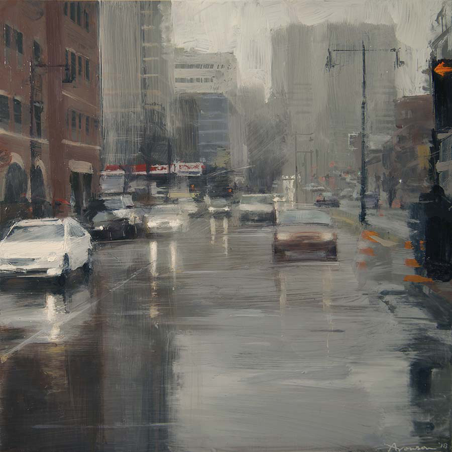 Boston Rain , 2018 oil on panel, 12 x 12 inches
