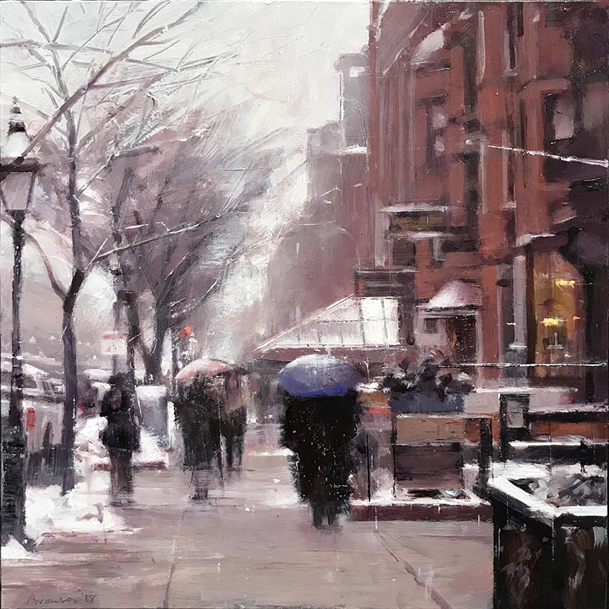 December Snow, Newbury Street , 2018 oil on panel, 12 x 12 inches SOLD