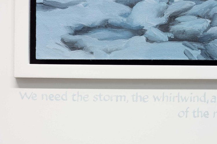 Detail of  Bitter Chill (We need the storm, the whirlwind and the earthquake.  The feeling of the nation must be quickened; the conscience of the nation must be roused. - Frederick Douglass, 1852) , 2018 oil on linen on panel, hand-lettered ink on frame, 16 3/8 x 21 5/8 inches overall