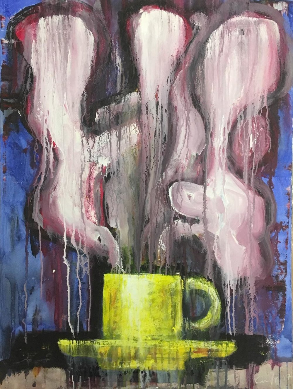 Steaming Cup , 2017 acrylic on paper, 30 x 22 inches