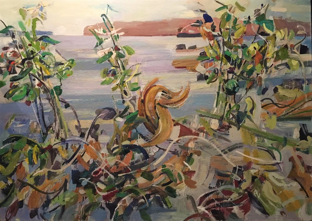 Lilies by the Sea II , 2009 oil on canvas, 48 x 66 inches