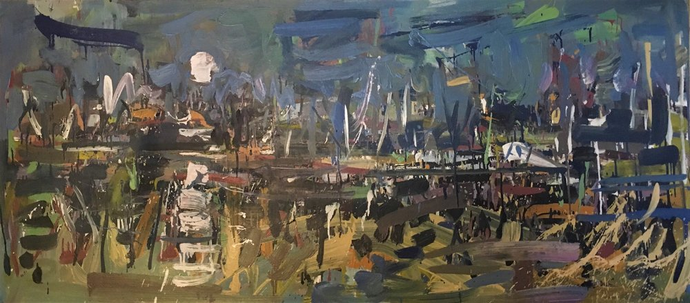 Lily Pond at Night , 2012 oil on canvas, 32 x 72 inches