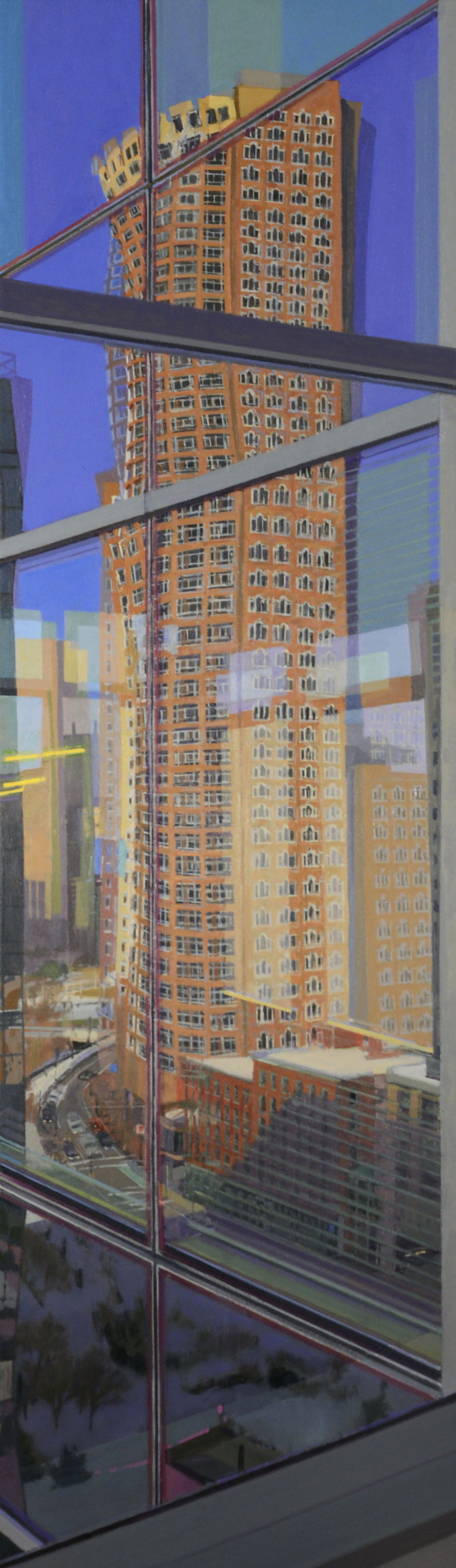 Richard Raiselis  One International Place , 2014 oil on linen, 48 x 14 inches courtesy of Gallery NAGA, Boston and the artist