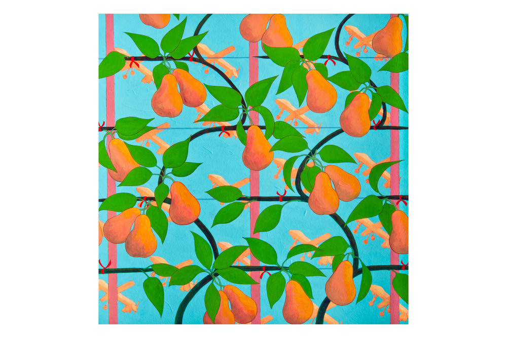 "•   Pear Espalier with Drones  Acrylic on paper, 22"" x 22"""