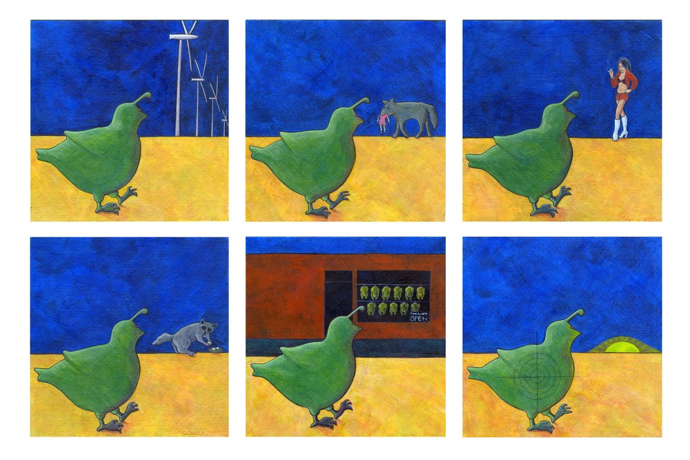 "Quail's Nighttime Stroll,  2009 Acrylic on paper, 5"" x 5"" each"