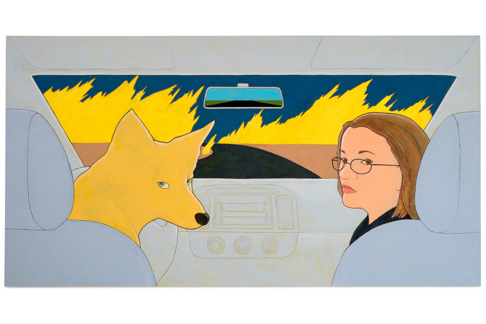 "Denial (into the fire),  2014 Self-portrait, Acrylic on paper, 9.5"" x 18"""