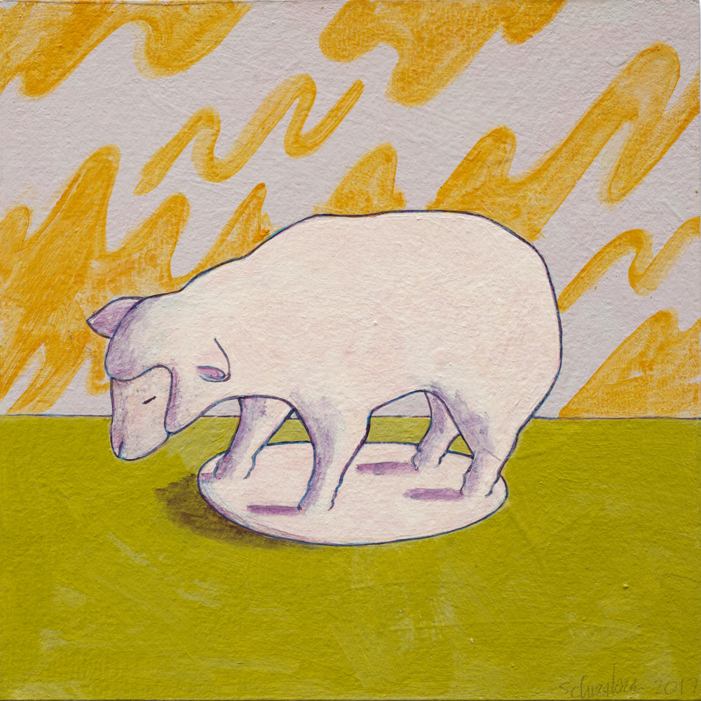 """Lost Lambs,  2017 Acrylic on paper, 4"""" x 4"""" each"""