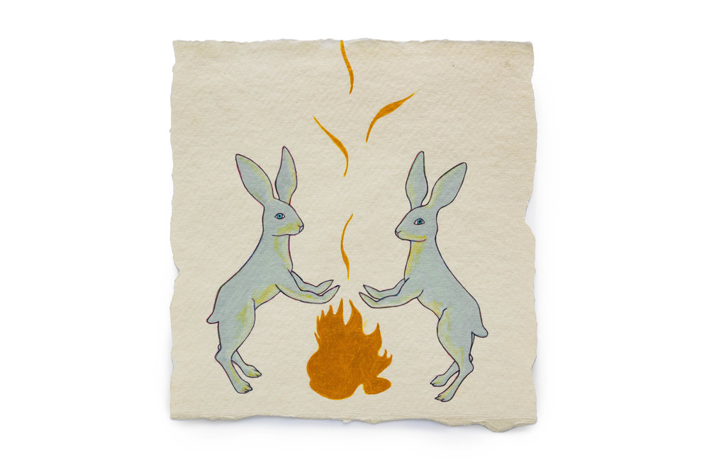 """Fire Diary (Flaming Rabbits),  2018 Acrylic on paper, 6"""" x 6"""" each"""