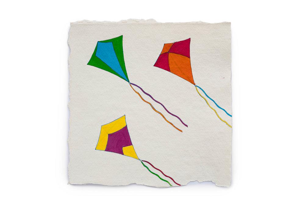 "Fire Diary (Kites),  2018 Acrylic on paper, 6"" x 6"""