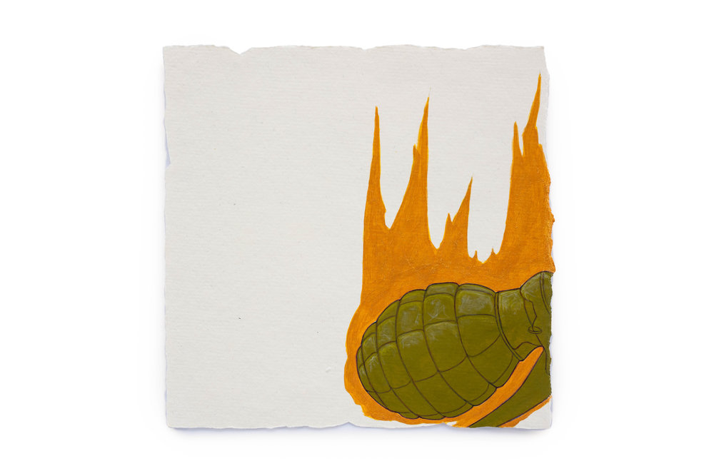 "Fire Diary (Flaming Grenade),  2018 Acrylic on paper, 6"" x 6"""