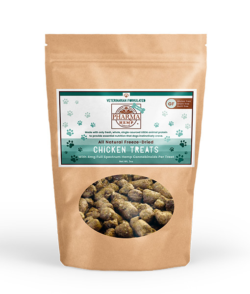 Pharma Hemp CBD Freeze-Dried Pet Treats 1oz/50mg 3oz/150mg   $11.99 - $23.98   Offered in 3oz and 1oz bags. Each 3oz bag contains 150mg of total cannabinoids CBD, CBDA, CBN, CBG, and terpenes; each 1oz bag contains 50mg.  Choose from chicken or salmon!