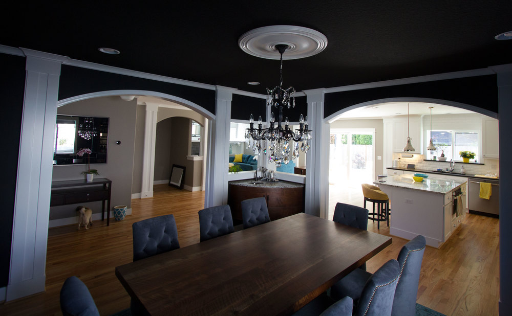 Because We Painted The Walls Black Had To Add New White Molding Two Archways As Well Above Wet Bar Hide Transition From One Paint