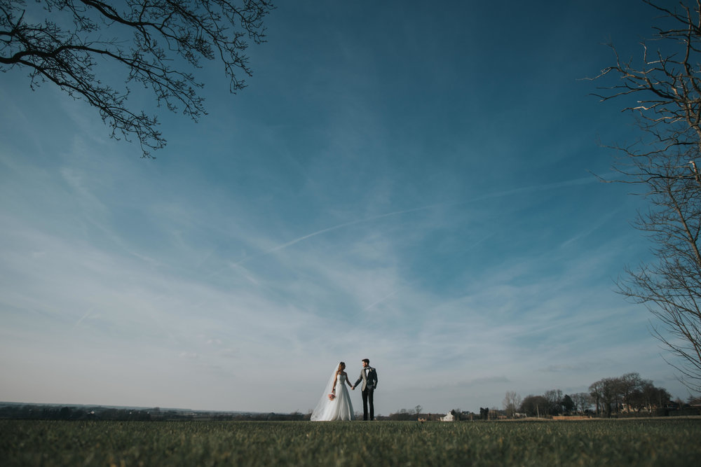bride and groom at west tower exclusive wedding venue in ormskirk