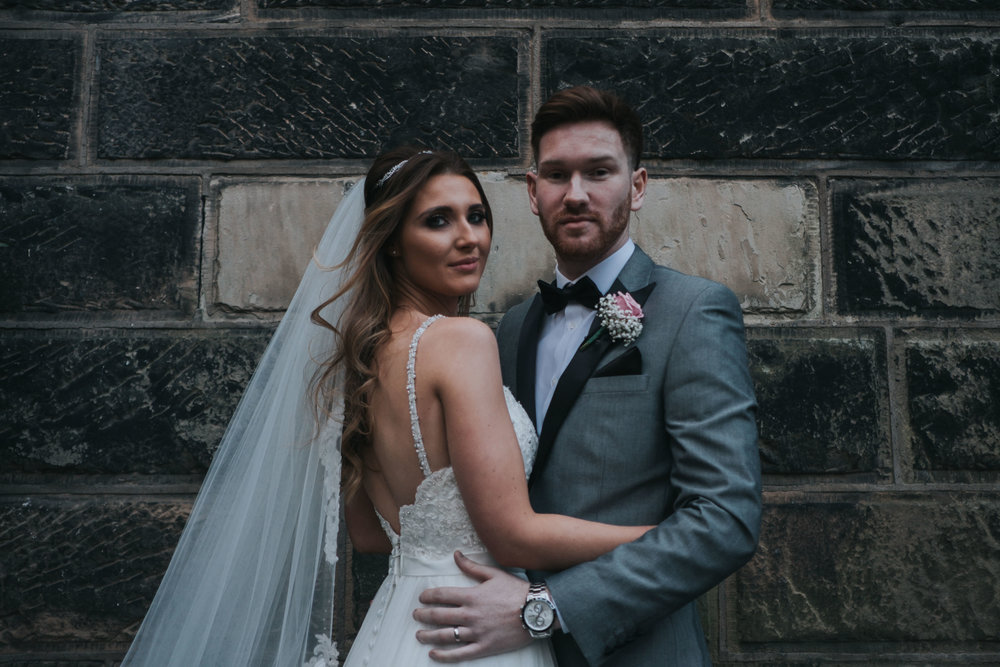 bridal portrait of the bride and groom at west tower exclusive wedding venue in ormskirk