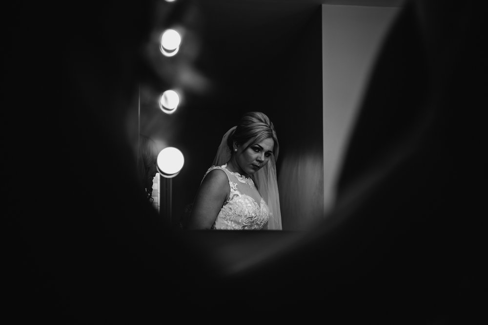 bride all ready in her dress on her wedding day