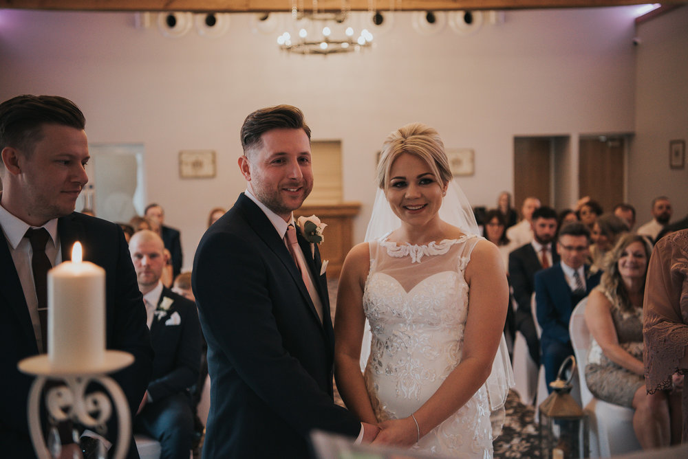 the happy couple tying the knot  at The Villa in Wrea Green