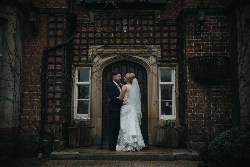 portrait of the newly wedding after getting married  at The Villa in Wrea Green