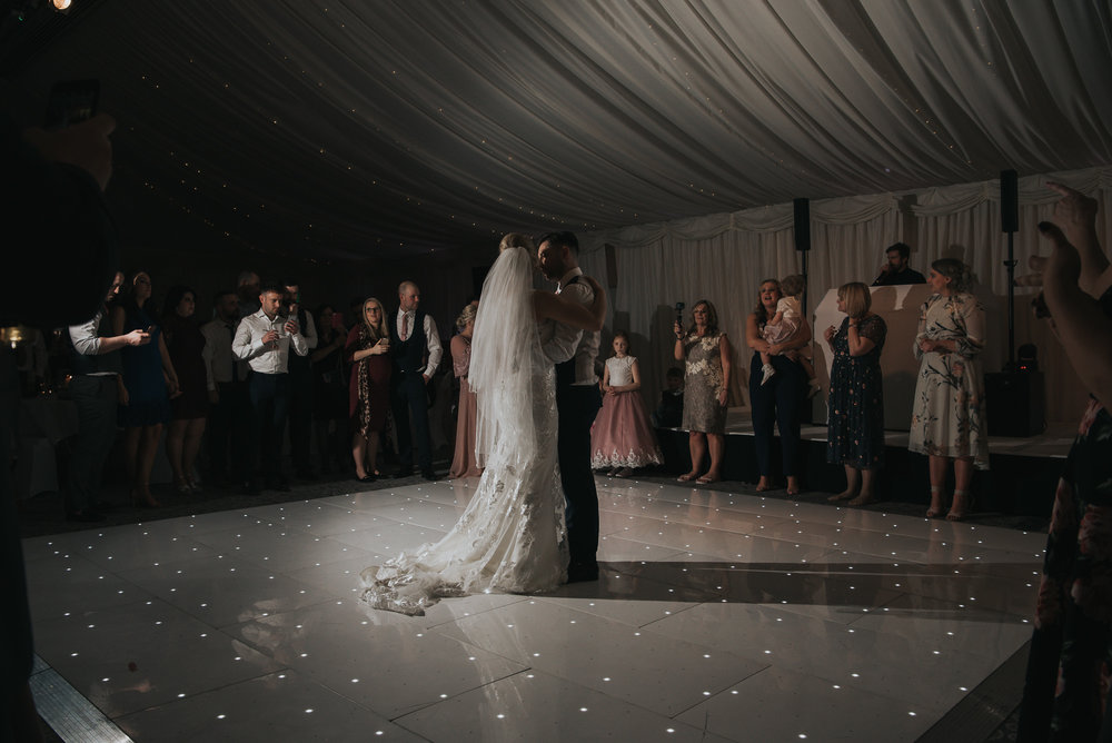 first dance for the happy couple on their wedding day  at The Villa in Wrea Green