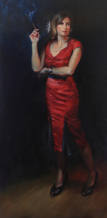 La chica de Humo, oil on canvas, 30x72""