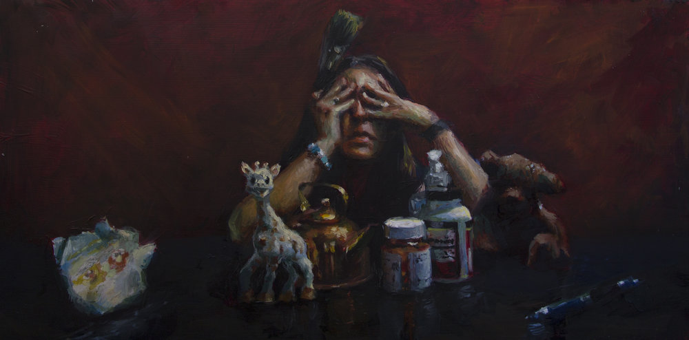 Mother's day, oil on aluminum, 12x24, New Haven Paint and Clay Club Permanent collection