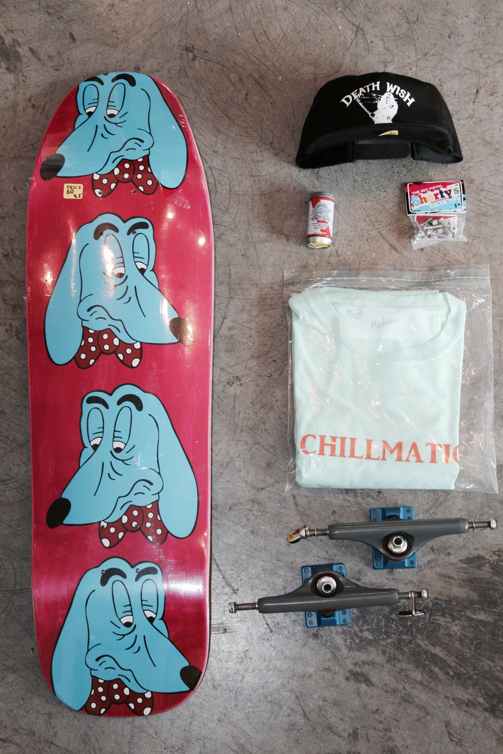 Weekend Pack 8/5 Tired - 9.5 deck Deathwish hat Beerings Abec 5 bearings Chillmatic t-shirt Shortys Sex Pistols hardware Independent Mark Gonzales trucks 169