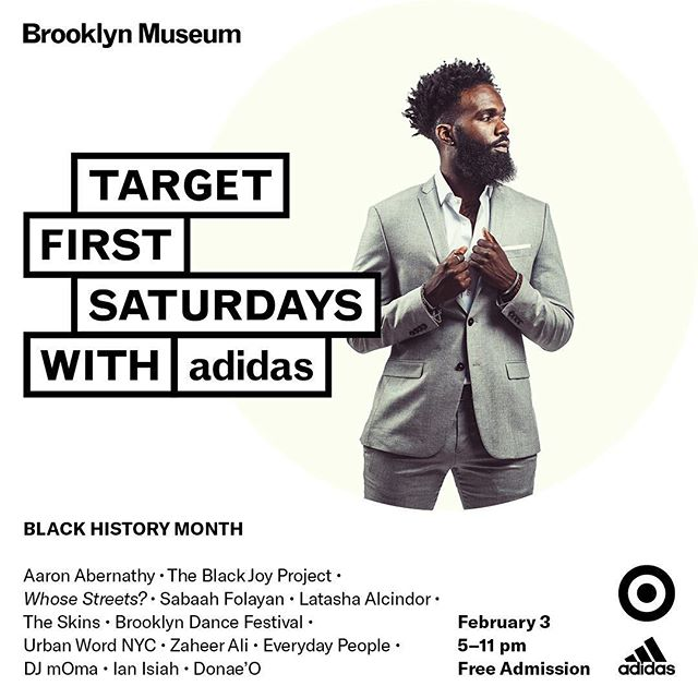 Mi gente, We have the excitement and honor to be a part of @brooklynmuseum's #FirstSaturdays TOMORROW for its Black History Month celebrations! Come thru at 6PM for a workshop and 7:30-9PM for a portrait w/ @sindayiganza!! COME THRU! #blackjoy #chooseblackjoy #theblackjoyproject