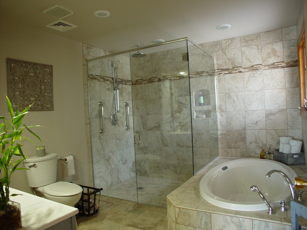 the same bathroom after a barrierfree bathroom remodel