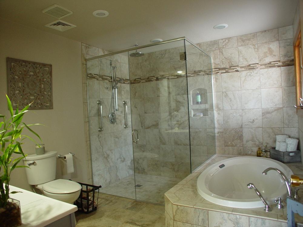 The same bathroom after a barrier-free bathroom remodel.
