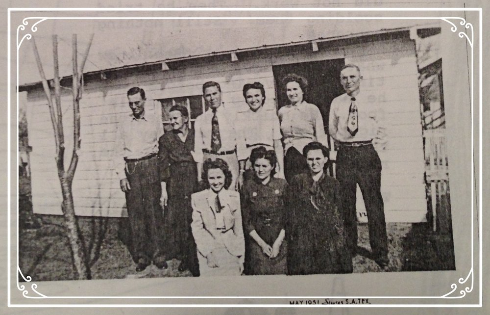 Grandma Bess (center front) with her parents (standing, far left) and siblings at home in 1951. Uncle Maurice is standing, far right, and Aunt Katherine is standing next to him. This photo was taken some years after the washtub incident!  (Many thanks to my mother for rustling up this great photo.)