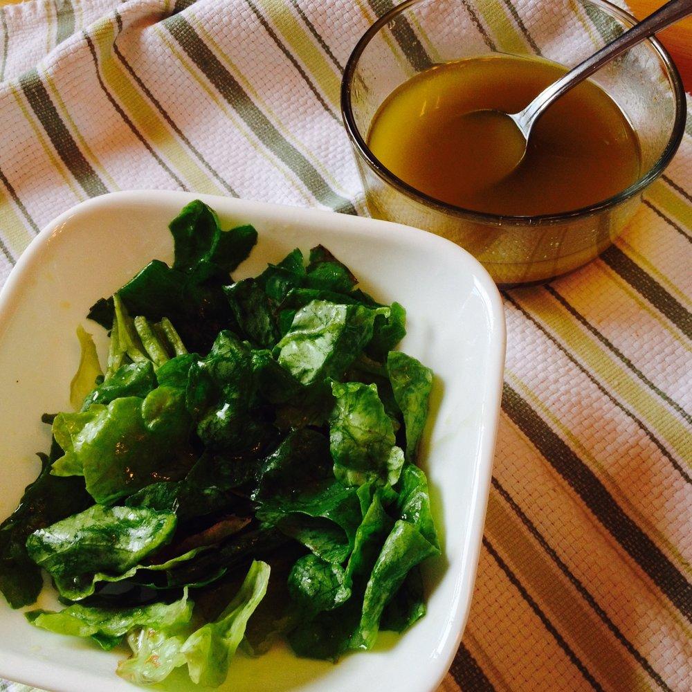 Vinaigrette on local lettuce from our summer CSA share