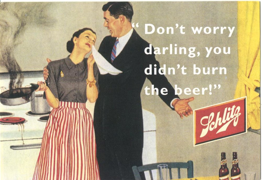 Source for this terribly-politically-incorrect-but-nonetheless-funny 1952 Schlitz beer ad:  New York Daily News/Schlitz