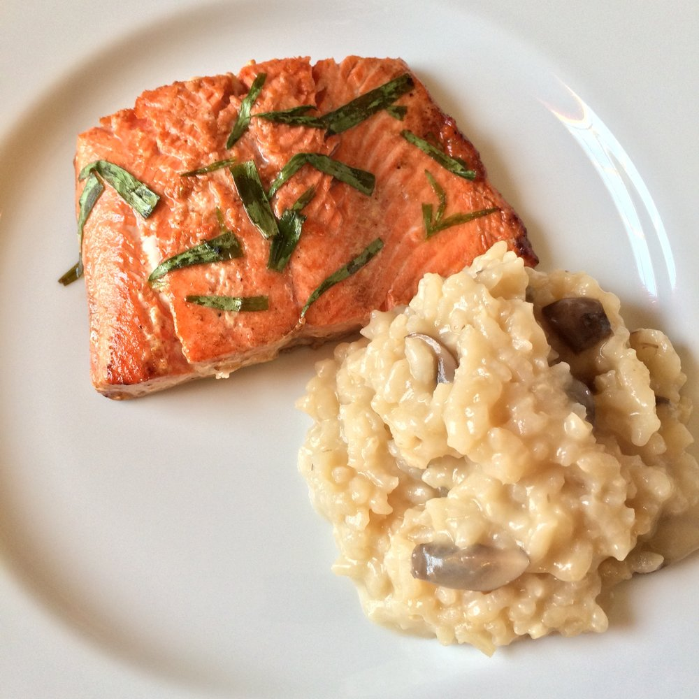 Salmon, shown here with a side of mushroom risotto, which I am still perfecting my recipe for