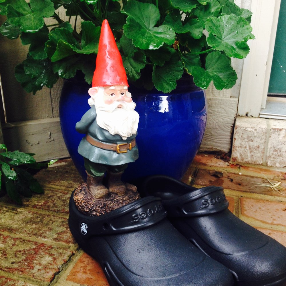 "Arthur the Gnome  took off with the ""Bistro"" Crocs for his gardening..."
