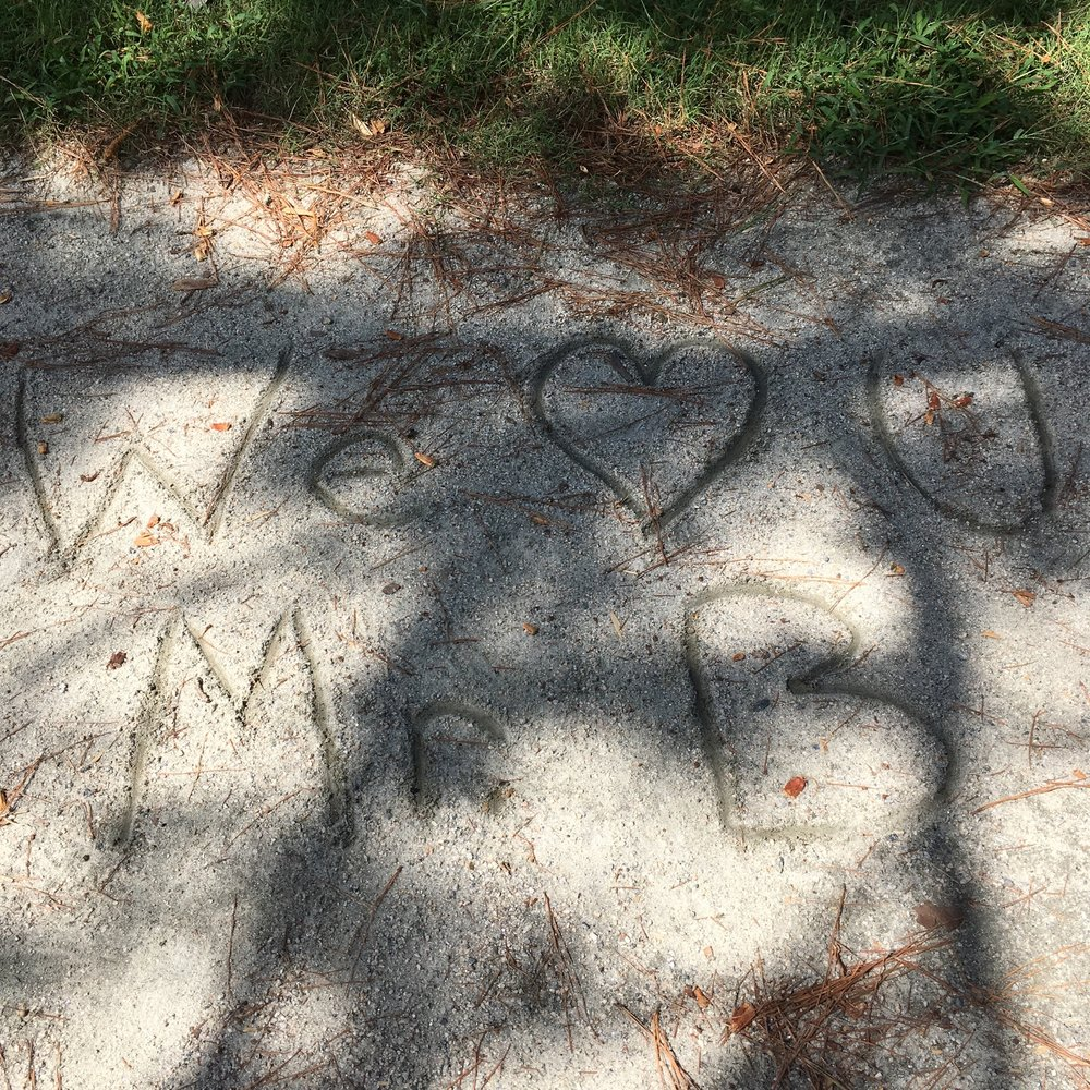 A small tribute in the sand to Mr. Bostrom, Virginia Tidewater, September 2017