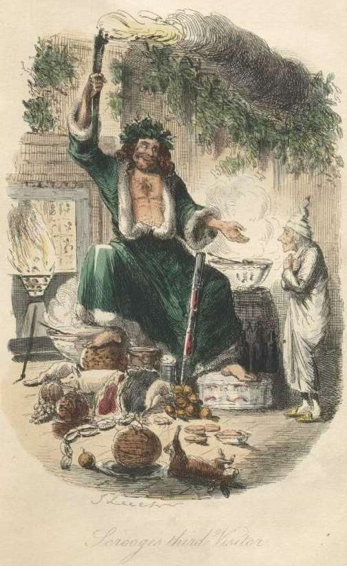 The Ghost of Christmas Present, as originally illustrated by John Leech in 1843.  Image credit:  Project Gutenburg .