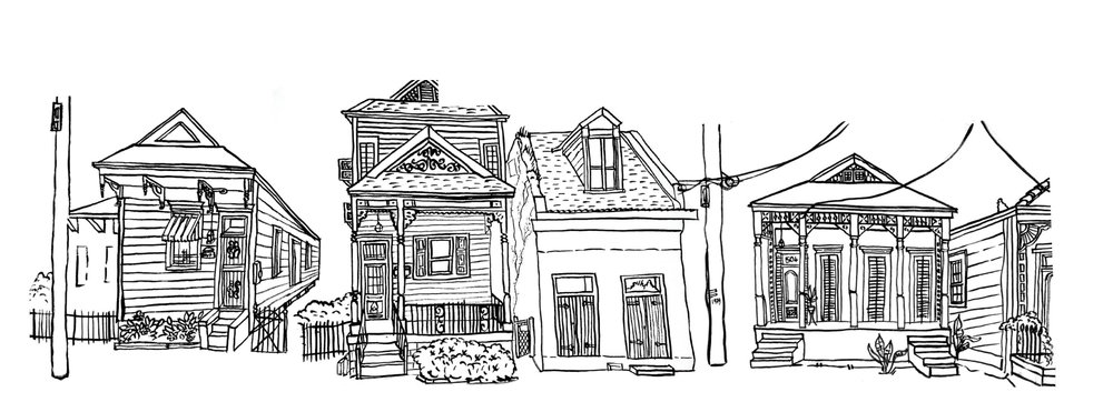 New Orleans Shotgun houses, DancingMan504 coloring book cover
