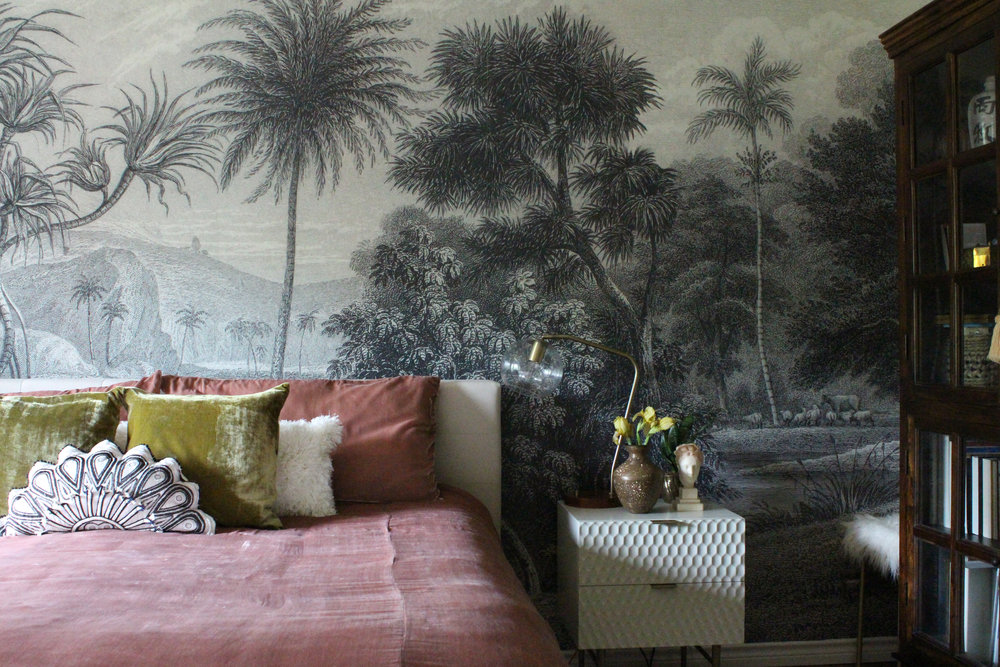 master bedroom makeover with wall mural.jpg